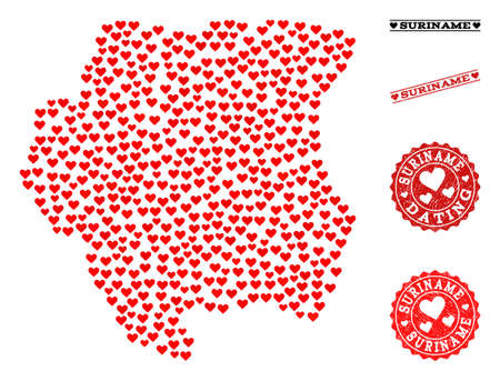 Mosaic map of Suriname designed with red love hearts, and rubber stamp seals for dating. Vector lovely geographic abstraction of map of Suriname with red dating symbols.