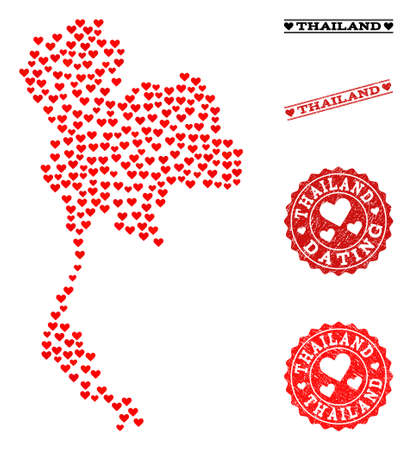Mosaic map of Thailand created with red love hearts, and rubber stamp seals for Valentines day. Vector lovely geographic abstraction of map of Thailand with red wedding symbols.