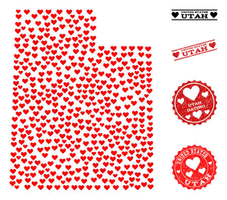 Collage map of Utah State formed with red love hearts, and grunge stamp seals for dating. Vector lovely geographic abstraction of map of Utah State with red dating symbols.