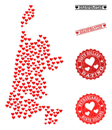 Mosaic map of North Holland created with red love hearts, and grunge watermarks for dating. Vector lovely geographic abstraction of map of North Holland with red dating symbols.