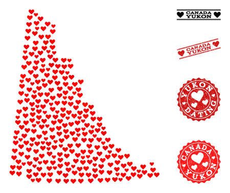 Mosaic map of Yukon Province formed with red love hearts, and grunge stamp seals for dating. Vector lovely geographic abstraction of map of Yukon Province with red romantic symbols.