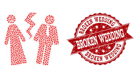 Collage broken wedding created with red valentine hearts, and isolated grunge stamp. Composition for Valentines Day. Broken wedding concept constructed with small random romance heart items.