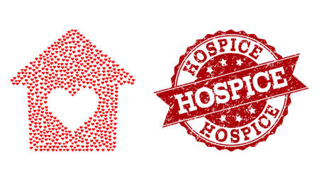 Mosaik schönes Haus mit roten Liebesherzen und isolierter Gummidichtung. Komposition zum Valentinstag. Schönes Hauskonzept mit kleinen randomisierten Dating-Herzstücken. Vektorgrafik