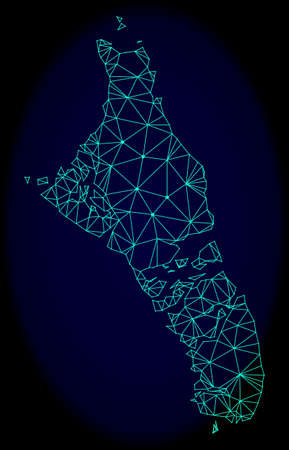 Polygonal vector mesh map of Bahamas - Andros Island. Connected lines, triangles and points forms abstract map of Bahamas - Andros Island.