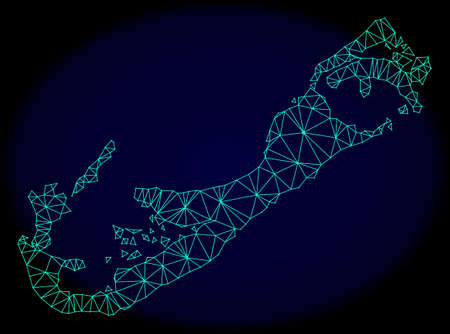 Polygonal vector mesh map of Bermuda Islands. Connected lines, triangles and points forms abstract map of Bermuda Islands. Wire frame 2D polygonal line network on a dark blue background.