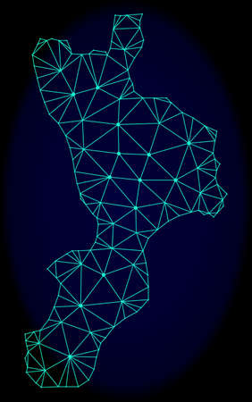 Polygonal vector mesh map of Calabria region. Connected lines, triangles and points forms abstract map of Calabria region. Wire frame 2D polygonal line network on a dark blue background.
