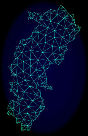 Polygonal vector mesh map of Chhattisgarh State. Connected lines, triangles and points forms abstract map of Chhattisgarh State. Wire frame 2D polygonal line network on a dark blue background. Illustration