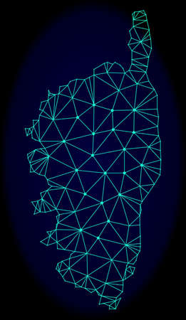 Polygonal vector mesh map of Corsica. Connected lines, triangles and points forms abstract map of Corsica. Wire frame 2D polygonal line network on a dark blue background.