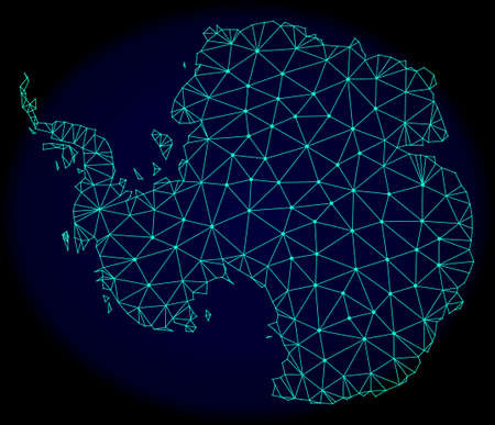 Polygonal vector mesh map of Antarctica. Connected lines, triangles and points forms abstract map of Antarctica. Wire frame 2D polygonal line network on a dark blue background.