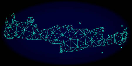 Polygonal vector mesh map of Crete Island. Connected lines, triangles and points forms abstract map of Crete Island. Wire frame 2D polygonal line network on a dark blue background. Illustration