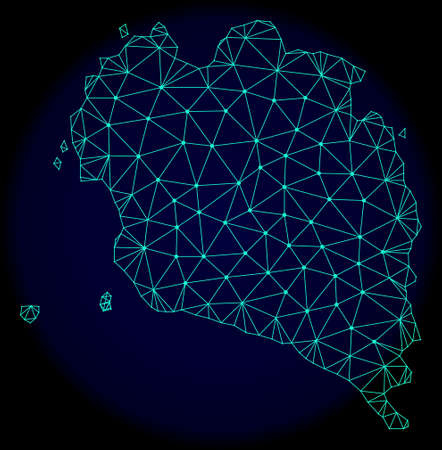 Polygonal vector mesh map of Ko Pha Ngan. Connected lines, triangles and points forms abstract map of Ko Pha Ngan. Wire frame 2D polygonal line network on a dark blue background.