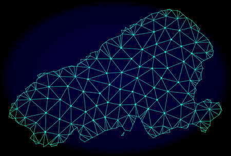 Polygonal vector mesh map of Kahoolawe Island. Connected lines, triangles and points forms abstract map of Kahoolawe Island. Wire frame 2D polygonal line network on a dark blue background. Illustration