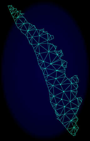 Polygonal vector mesh map of Kerala State. Connected lines, triangles and points forms abstract map of Kerala State. Wire frame 2D polygonal line network on a dark blue background. Illustration