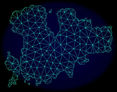 Polygonal vector mesh map of Mykonos Island. Connected lines, triangles and points forms abstract map of Mykonos Island. Wire frame 2D polygonal line network on a dark blue background. Illustration