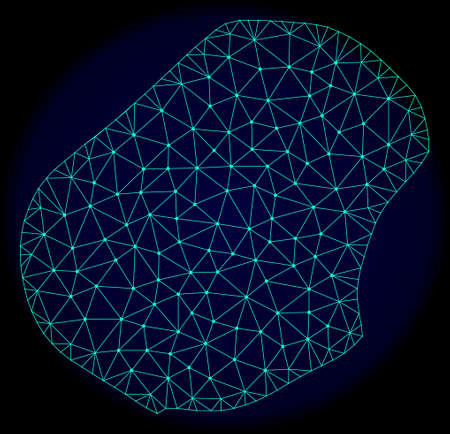 Polygonal vector mesh map of Nauru. Connected lines, triangles and points forms abstract map of Nauru. Wire frame 2D polygonal line network on a dark blue background.
