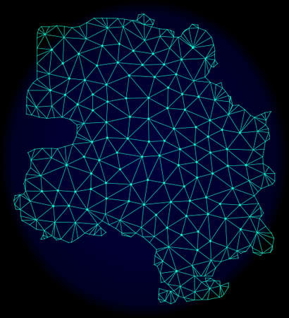 Polygonal vector mesh map of New Delhi City. Connected lines, triangles and points forms abstract map of New Delhi City. Wire frame 2D polygonal line network on a dark blue background.