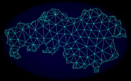 Polygonal vector mesh map of North Brabant Province. Connected lines, triangles and points forms abstract map of North Brabant Province. Wire frame 2D polygonal line network on a dark blue background.
