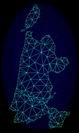 Polygonal vector mesh map of North Holland. Connected lines, triangles and points forms abstract map of North Holland. Wire frame 2D polygonal line network on a dark blue background. Stock Illustratie