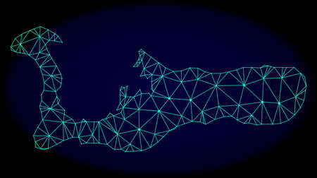 Polygonal vector mesh map of Grand Cayman Island. Connected lines, triangles and points forms abstract map of Grand Cayman Island. Wire frame 2D polygonal line network on a dark blue background. Illustration