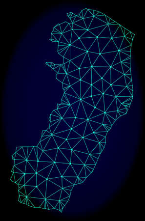 Polygonal vector mesh map of Espirito Santo State. Connected lines, triangles and points forms abstract map of Espirito Santo State. Wire frame 2D polygonal line network on a dark blue background. Ilustração