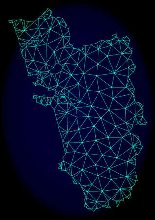 Polygonal vector mesh map of Goa State. Connected lines, triangles and points forms abstract map of Goa State. Wire frame 2D polygonal line network on a dark blue background. Illustration