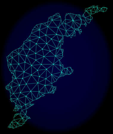 Polygonal vector mesh map of Gotland Island. Connected lines, triangles and points forms abstract map of Gotland Island. Wire frame 2D polygonal line network on a dark blue background.