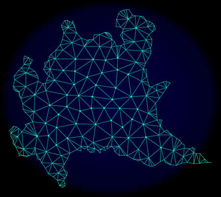 Polygonal vector mesh map of Lombardy region. Connected lines, triangles and points forms abstract map of Lombardy region. Wire frame 2D polygonal line network on a dark blue background. Ilustração