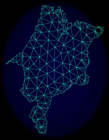Polygonal vector mesh map of Maranhao State. Connected lines, triangles and points forms abstract map of Maranhao State. Wire frame 2D polygonal line network on a dark blue background.