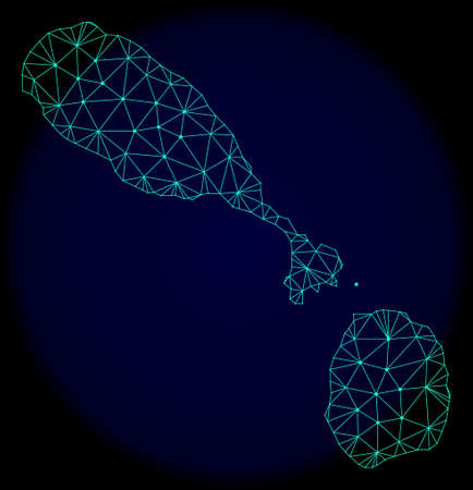 Polygonal vector mesh map of Saint Kitts and Nevis. Connected lines, triangles and points forms abstract map of Saint Kitts and Nevis. Wire frame 2D polygonal line network on a dark blue background. Illustration