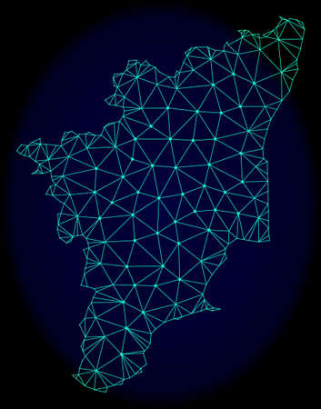 Polygonal vector mesh map of Tamil Nadu State. Connected lines, triangles and points forms abstract map of Tamil Nadu State. Wire frame 2D polygonal line network on a dark blue background.