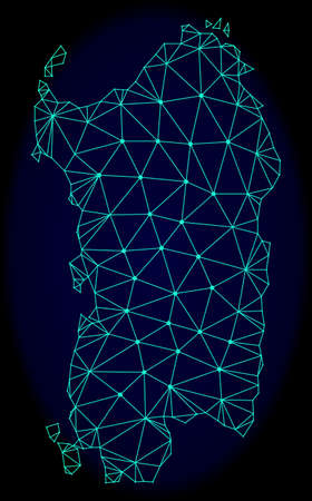 Polygonal vector mesh map of Sardinia region. Connected lines, triangles and points forms abstract map of Sardinia region. Wire frame 2D polygonal line network on a dark blue background. Ilustração