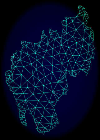Polygonal vector mesh map of Tripura State. Connected lines, triangles and points forms abstract map of Tripura State. Wire frame 2D polygonal line network on a dark blue background.