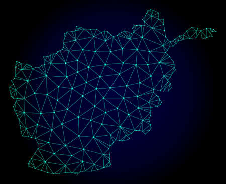 Polygonal mesh map of Afghanistan. Abstract mesh lines, triangles and points on dark background with map of Afghanistan.