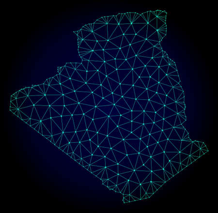 Polygonal mesh map of Algeria. Abstract mesh lines, triangles and points on dark background with map of Algeria. Wire frame 2D polygonal line network in vector format on a dark blue background.