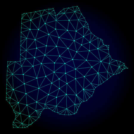 Polygonal mesh map of Botswana. Abstract mesh lines, triangles and points on dark background with map of Botswana. Wire frame 2D polygonal line network in vector format on a dark blue background. Иллюстрация