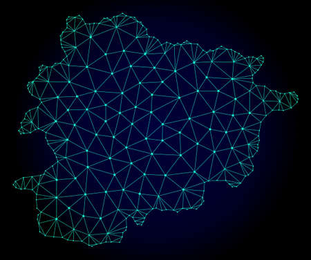 Polygonal mesh map of Andorra. Abstract mesh lines, triangles and points on dark background with map of Andorra. Wire frame 2D polygonal line network in vector format on a dark blue background.