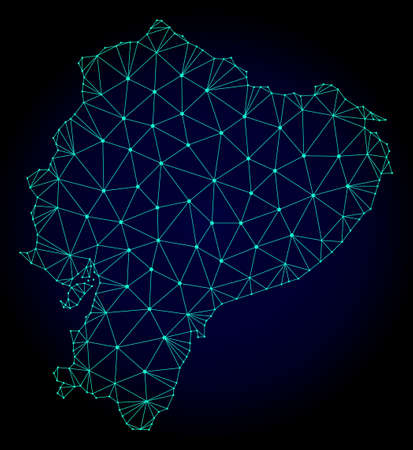 Polygonal mesh map of Ecuador. Abstract mesh lines, triangles and points on dark background with map of Ecuador. Wire frame 2D polygonal line network in vector format on a dark blue background.