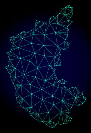 Polygonal mesh map of Karnataka State. Abstract mesh lines, triangles and points on dark background with map of Karnataka State.