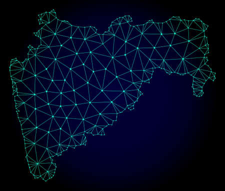 Polygonal mesh map of Maharashtra State. Abstract mesh lines, triangles and points on dark background with map of Maharashtra State. Illustration