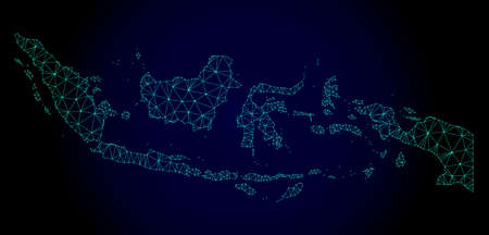 Polygonal mesh map of Indonesia. Abstract mesh lines, triangles and points on dark background with map of Indonesia. Wire frame 2D polygonal line network in vector format on a dark blue background. Vectores