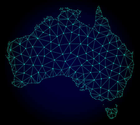 Polygonal mesh map of Australia. Abstract mesh lines, triangles and points on dark background with map of Australia. Wire frame 2D polygonal line network in vector format on a dark blue background.