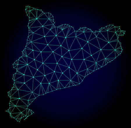 Polygonal mesh map of Catalonia. Abstract mesh lines, triangles and points on dark background with map of Catalonia. Wire frame 2D polygonal line network in vector format on a dark blue background. Ilustração Vetorial