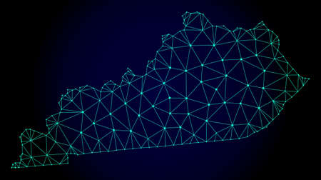 Polygonal mesh map of Kentucky State. Abstract mesh lines, triangles and points on dark background with map of Kentucky State. Illustration