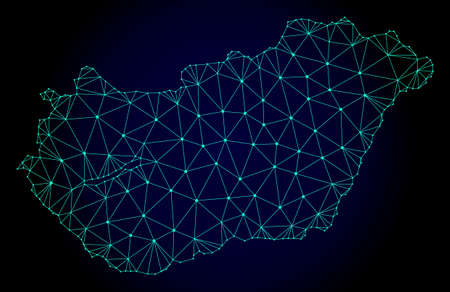 Polygonal mesh map of Hungary. Abstract mesh lines, triangles and points on dark background with map of Hungary. Wire frame 2D polygonal line network in vector format on a dark blue background.