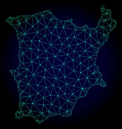 Polygonal mesh map of Koh Samui. Abstract mesh lines, triangles and points on dark background with map of Koh Samui. Wire frame 2D polygonal line network in vector format on a dark blue background.