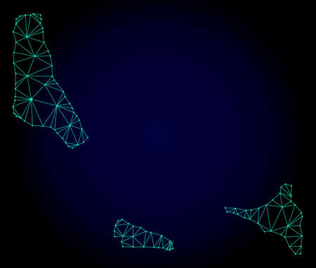 Polygonal mesh map of Comoros Islands. Abstract mesh lines, triangles and points on dark background with map of Comoros Islands.