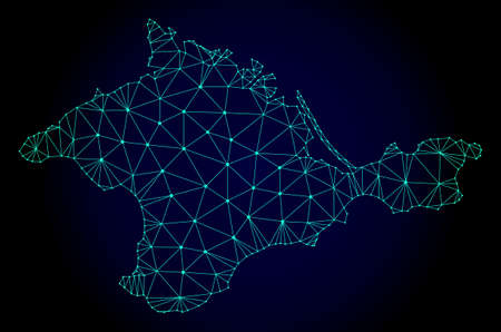 Polygonal mesh map of Crimea. Abstract mesh lines, triangles and points on dark background with map of Crimea. Wire frame 2D polygonal line network in vector format on a dark blue background.