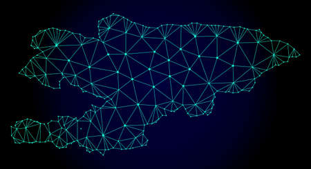 Polygonal mesh map of Kyrgyzstan. Abstract mesh lines, triangles and points on dark background with map of Kyrgyzstan. Wire frame 2D polygonal line network in vector format on a dark blue background. Иллюстрация