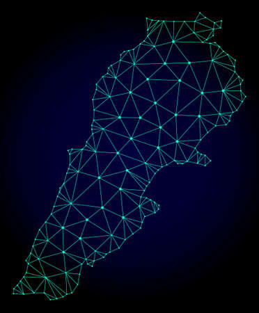 Polygonal mesh map of Lebanon. Abstract mesh lines, triangles and points on dark background with map of Lebanon. Wire frame 2D polygonal line network in vector format on a dark blue background.