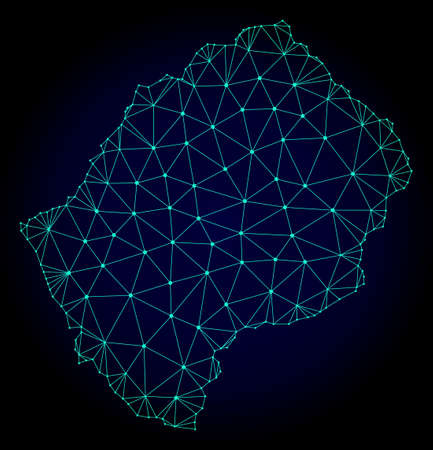 Polygonal mesh map of Lesotho. Abstract mesh lines, triangles and points on dark background with map of Lesotho. Wire frame 2D polygonal line network in vector format on a dark blue background.